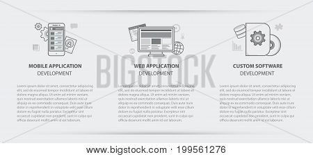 Flat line illustration business concept menu banner set of web application development application development and custom software development company site services for websites on background