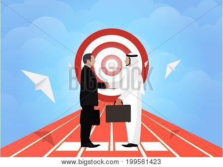 arab businessman people handshake meeting, goal flat design