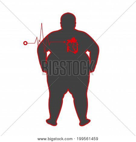 vector fat people with heart disease illustrator