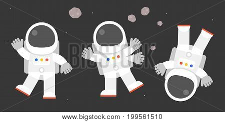 cute astronaut in various post, bye bye, say hello, flat design vector illustration