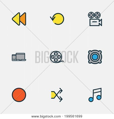 Music Colorful Outline Icons Set. Collection Of Amplifier, Randomize, Musical Note Elements