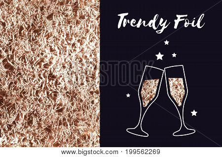 Vector background of foil texture and icon glasses of champagne. Rose gold and copper or bronze color. Sparkle wrinkled texture. Bronze metallic.