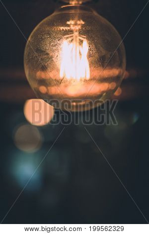 Decorative Antique Vintage Edison Style Filament Light Bulbs In Room