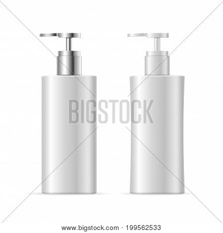 Realistic Template Blank White Soap Liquid Cosmetic Bottle Isolated with the Pump or Dispenser. Vector illustration