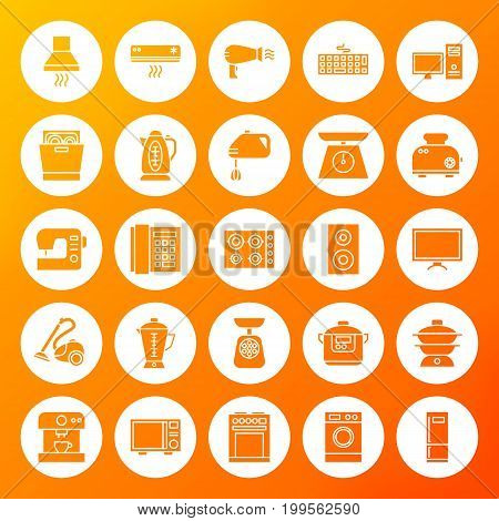 Household Circle Solid Icons. Vector Illustration of Glyphs over Blurred Background.