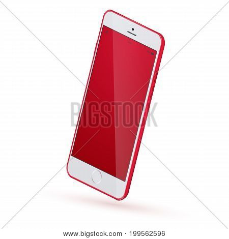 Vector Realistic perspective smartphone mockup isolated. Realistic smartphone mock up. 3d Perspective view of high detailed smartphone. Vector red modern smartphone mockup.