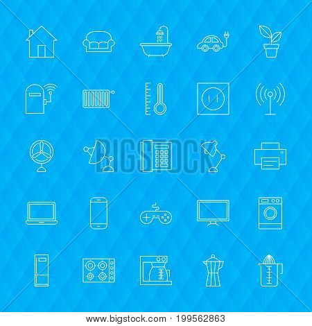 Line Household Icons. Vector Illustration of Outline Appliances Symbols over Polygonal Background.