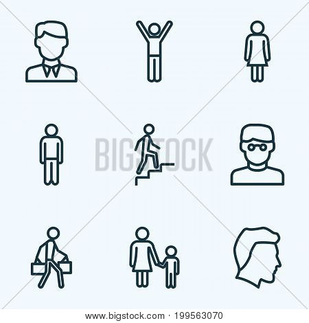 People Outline Icons Set. Collection Of Pulling, Worker, Mother And Other Elements