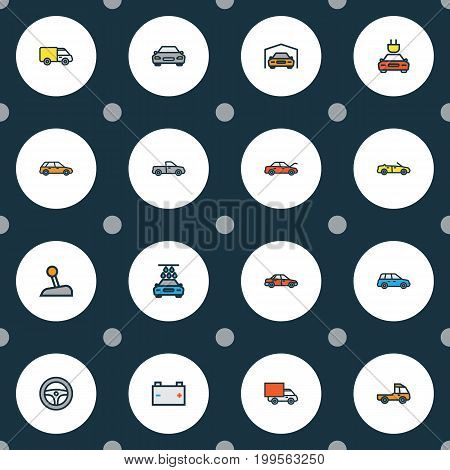 Automobile Colorful Outline Icons Set. Collection Of Auto, Automobile, Truck And Other Elements