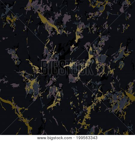 Aubergine marble texture with gold. Patina effect. Seamless pattern. Overlay distress grain. Purple or violet colors. Holiday background. Dark color. Vector. EPS10.