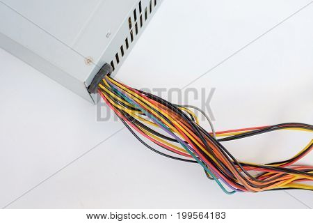 Close-up of colorful electrical cables. Isolated on white