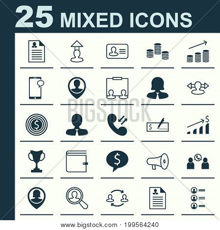 Resources Icons Set. Collection Of Deal, Talking, Goal And Other Elements