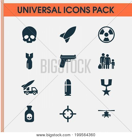 Battle Icons Set. Collection Of Missile, Order, Danger And Other Elements