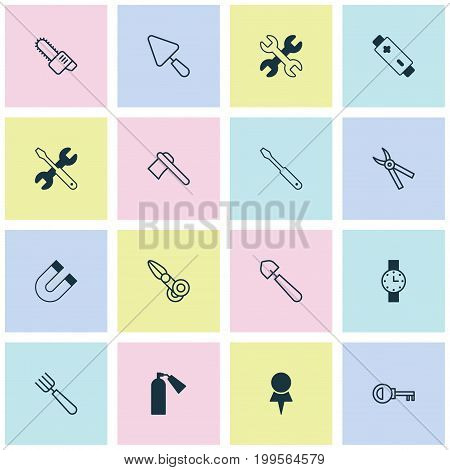 Equipment Icons Set. Collection Of Alkaline, Pliers, Clippers And Other Elements