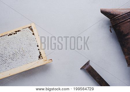 Fresh Honey In The Comb And The Tools Of The Beekeeper On A Gray Concrete Background. Flat Lay And T