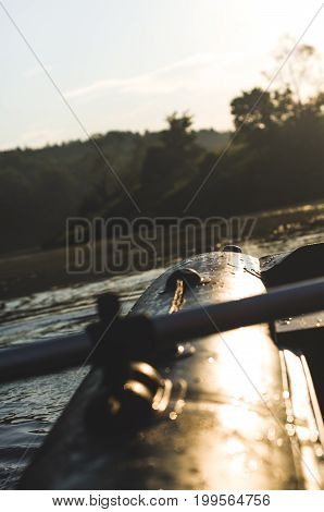 Green Inflatable Boat Of A River. Concept Of Rafting Or Expedition