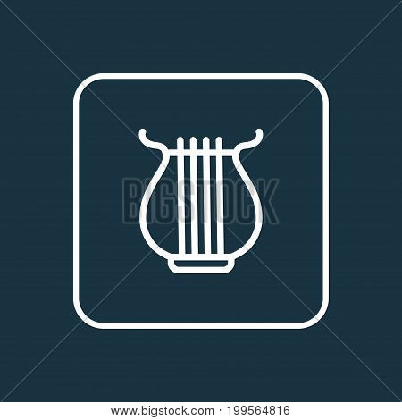 Premium Quality Isolated Stringed Element In Trendy Style.  Harp Outline Symbol.