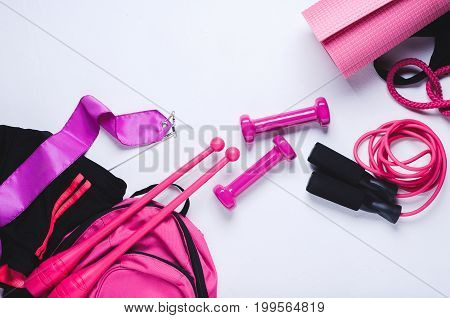 Sports Equipment For Fitness And Gymnastics On White Background. Flat Lay And Top View