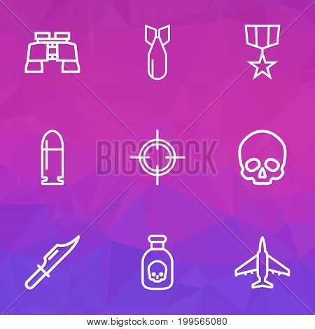 Combat Outline Icons Set. Collection Of Zoom Glasses, Order, Aircraft And Other Elements
