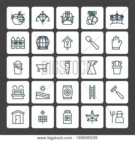 Gardening Icons Set. Collection Of Maple, Sweet Berry, Sprinkler And Other Elements