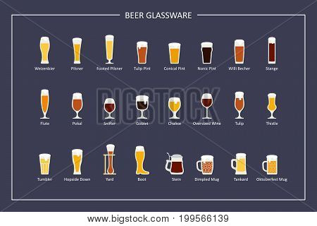 Beer glasses types guide, flat icons on dark background. Horizontal orientation. Vector illustration
