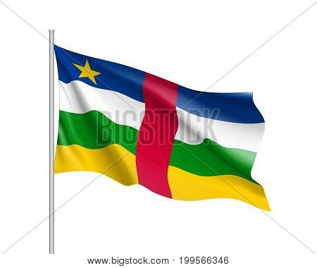 Central African Republic flag. Illustration of African country waving flag on flagpole. Vector 3d icon isolated on white background. Realistic illustration