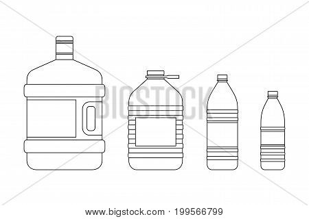 Line bottles for water of different sizes. line icons of plastic transparent bottles.