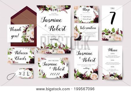 Wedding invitation flower invite card design with garden peach rose ranunculus burgundy red Dahlia flower Astilbe leaves herb berry mix poster banner Vector anniversary print Elegant frames background