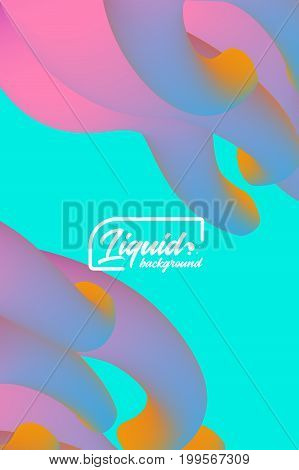 Cover template with abstract liquid objects. Applicable for design gift card, cover, poster, flyer or placard. Vector illustration