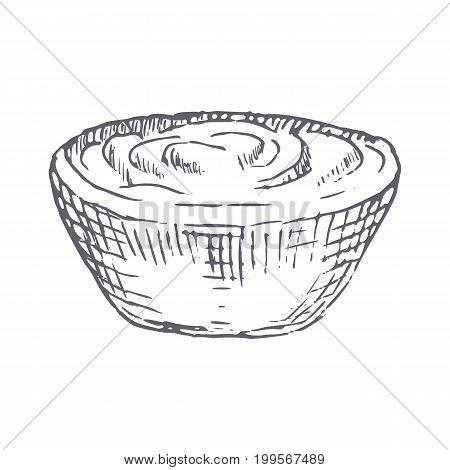 sour cream hand drawn vector illustration. Vector template