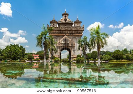 Patuxai Monument In Vientiane travel destination and place of interest in Laos