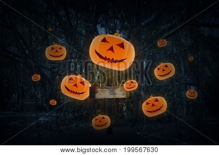 Cross with Jack O Lantern pumpkin fly over spooky forest at night time Horror background Halloween concept