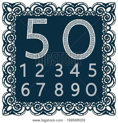 Templates for cutting out digits. May be used for laser cutting. Fancy lace digits. Font isolated blue background. A set of symbols in a lacy frame. Part 3. Set of numbers. Vector.