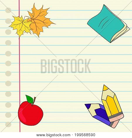 Back to school hand drawn vector notebook lined paper colored pencils red apple maple leaves copyspace for text template design
