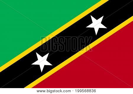 Flag Saint Kitts flat icon. State insignia of the nation in flat style on the entire page. National symbol in the form of a vector illustration