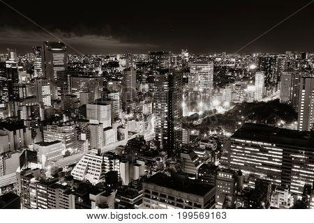 Tokyo urban skyscraper skyline rooftop view at night, Japan.