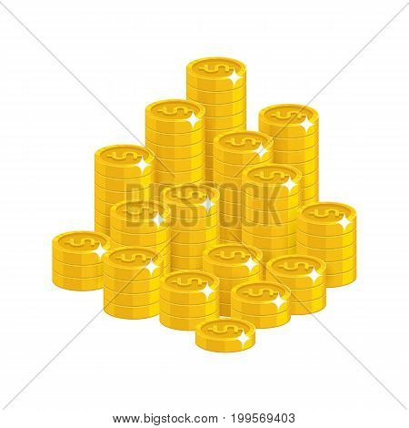 Gold dollars mountain cartoon style isolated. The mountain of shiny gold dollars for designers and illustrators. The pile of gold pieces in the form of a vector illustration
