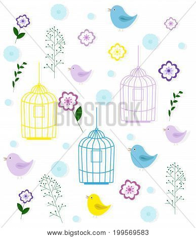 Birds cage and floral pattern childhood style Vector vintage