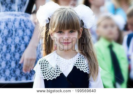 Portrait of a beautiful little girl in a school dress and in bows. First grade. First-grader