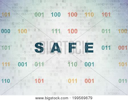 Protection concept: Painted blue text Safe on Digital Data Paper background with Binary Code