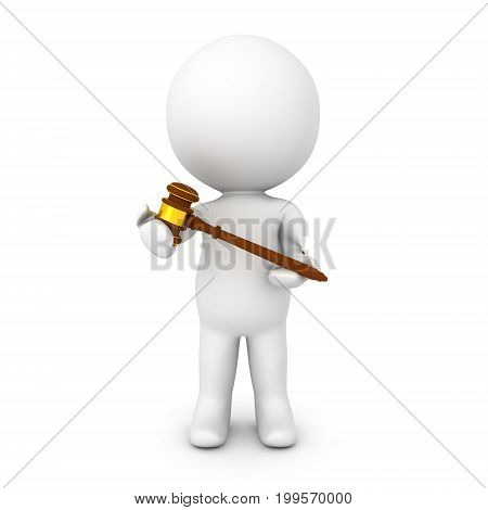 3D Character holding gavel in his hands. Image relating to law practice.