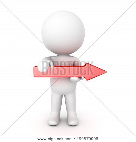 3D Character holding red arrow pointing to the right. Isolated on white.