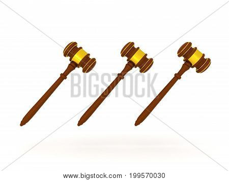 3D illustration of three golden gavels. Isolated on white.