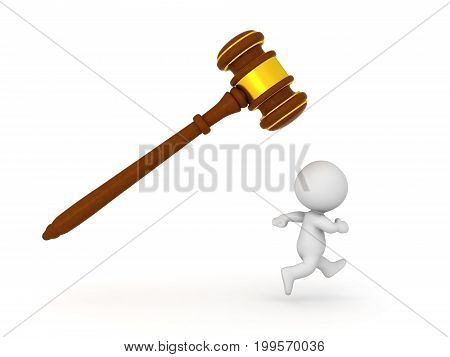 3D Character running to right while being chased by gavel. Isolated on white.