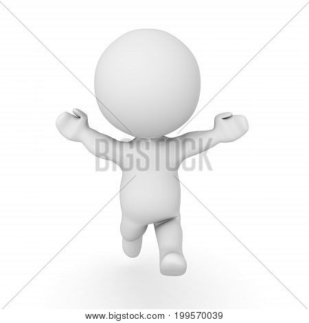 3D Character running towards the screen with his arms raised. Isolated on white.