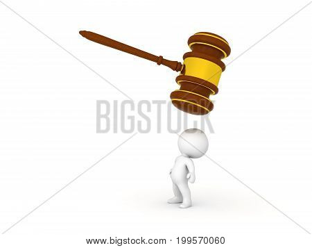 3D Character looking above himself at giant wooden gavel. Isolated on white.