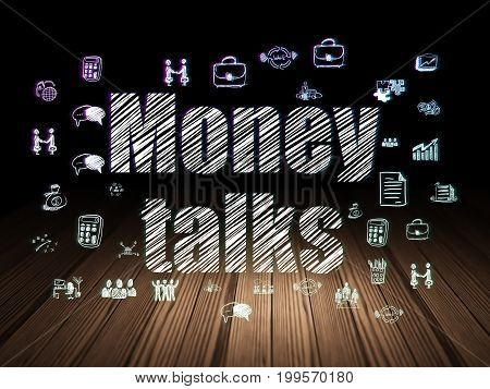 Finance concept: Glowing text Money Talks,  Hand Drawn Business Icons in grunge dark room with Wooden Floor, black background