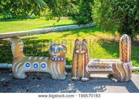 Cute design og park benches looking like cats
