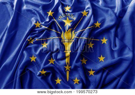 Ruffled waving United States Indiana flag national