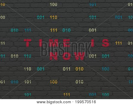 Time concept: Painted red text Time is Now on Black Brick wall background with Binary Code